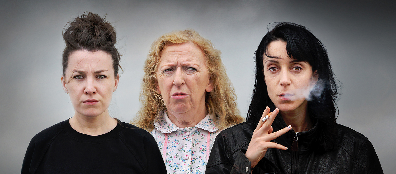 Tom Murphy's Bailegangaire cast: Clare Monelly (Mary), Joan Sheehy (Mommo) and Maeve Fitzgerald (Dolly). Directed by Padraic McIntyre for Nomad Theatre Network in association with Livin' Dred Theatre Company.