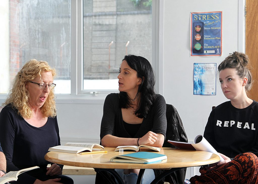 The cast meeting for their first read through of Bailegangaire, August 2016. Left to right: Joan Sheehy, Maeve Fitzgerald and Claire Monelly.